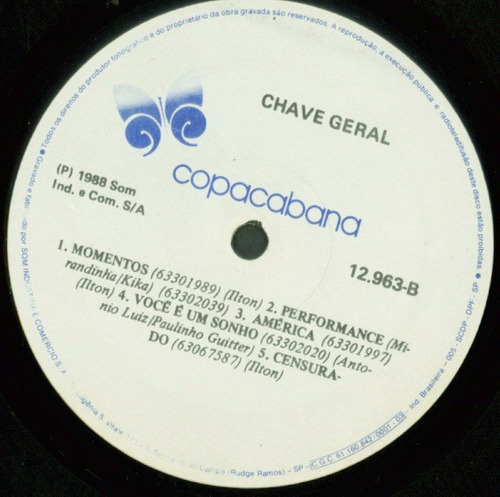lp chave geral - 1988 - copacabana