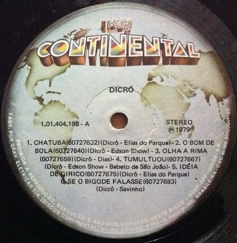 lp dicró - chatuba - 1979 - continental