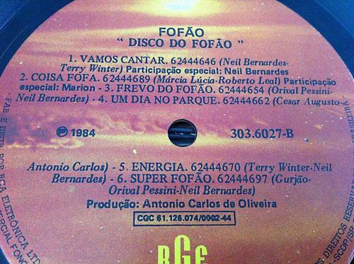 lp disco do fofão rge (1984) acompanha poster