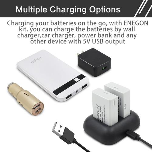 lp-e5 batería de repuesto enegon (paquete de 2) y cargador d