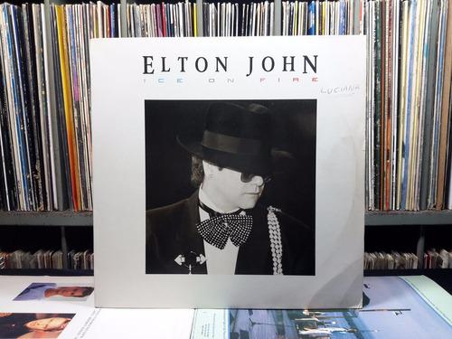 lp elton john - ice on fire - lp rock pop 1985 c/ encarte ad