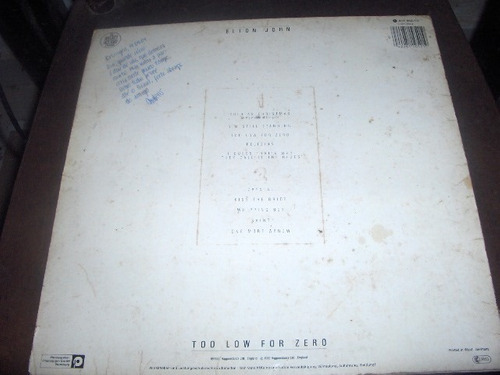 lp elton john too low for zero 1983 com encarte
