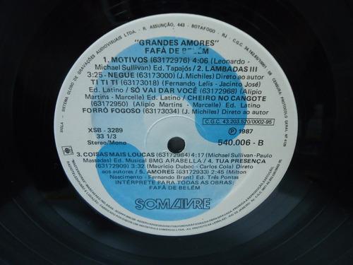 lp fafá de belém grandes amores som livre 1987 encarte
