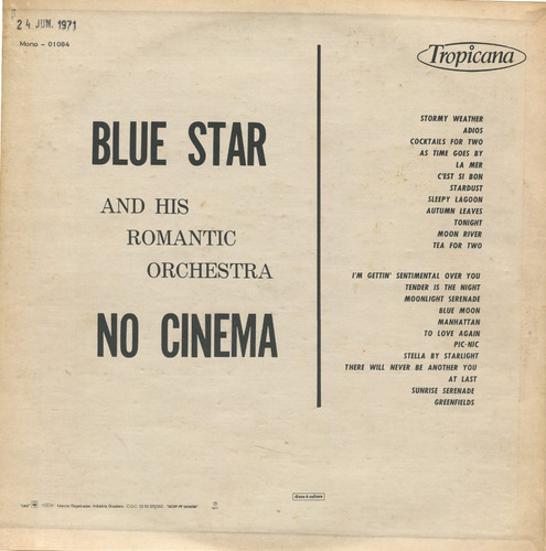 lp  hits do cinema-1965 bluestar and his romantic orchestra