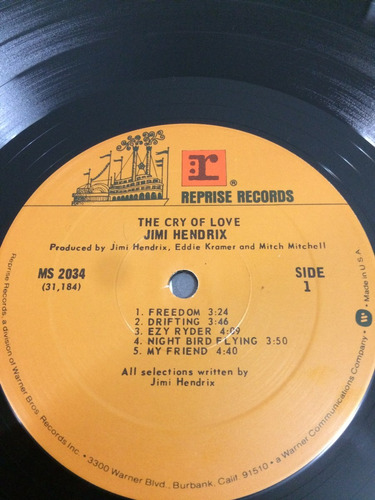 lp jimi hendrix - the cry of love import usa early press 71