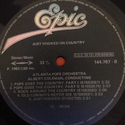 lp just hooked on country 1982