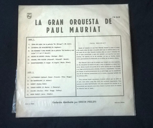 lp la gran orquesta de paul mauriat