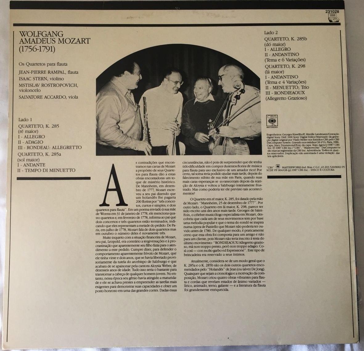Lp Mozart Rampal The Flute Quartets Rostropovich