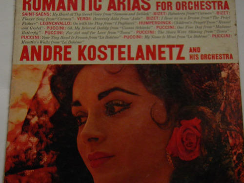 lp música clásica romantic arias kostelanetz importado
