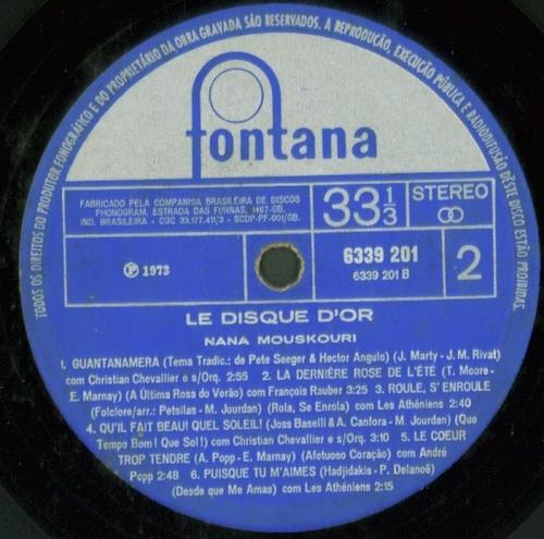lp nana mouskouri - le disque d'or - 1973 - fontana