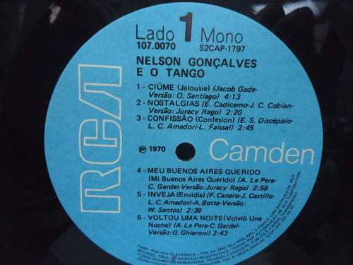 lp nelson gonçalves e o tango mono selo rca 1970