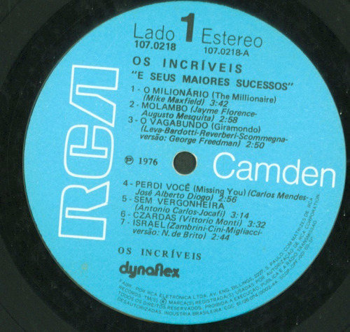 lp os incriveis e seus maiores sucessos - 1976 - rca camden