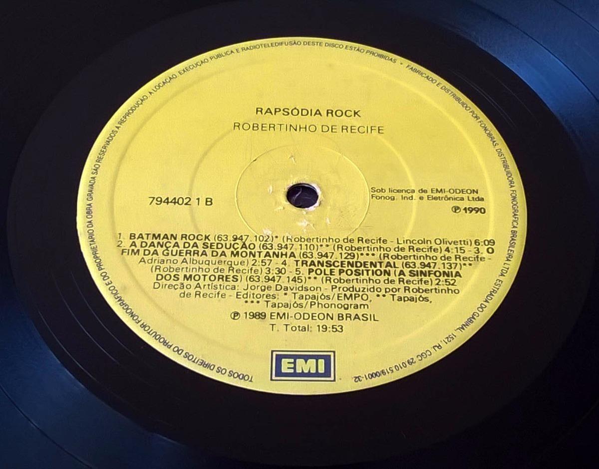 Lp Robertinho De Recife Rapsodia Rock 1990 Vinil Emi Odeon