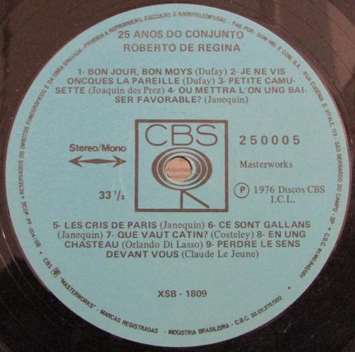 lp roberto de regina - 25 anos do conjunto - cbs 1976