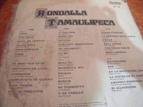 lp rondalla tamaulipeca, album 3 discos,