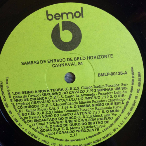 lp sambas de enredo de belo horizonte ( carnaval 84 )