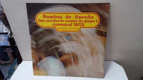 lp sambas de enredo  grupo 1 rio 1975 + poster + encar ja77