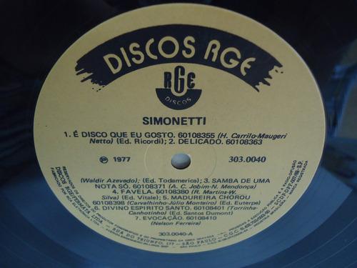 lp simonetti é disso que eu gosto selo rge 1977