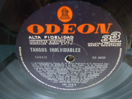 lp tangos inolvidables selo odeon importado trekus vintage