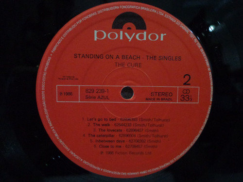 lp the cure-standing on a beach-the singles-polydor-1986