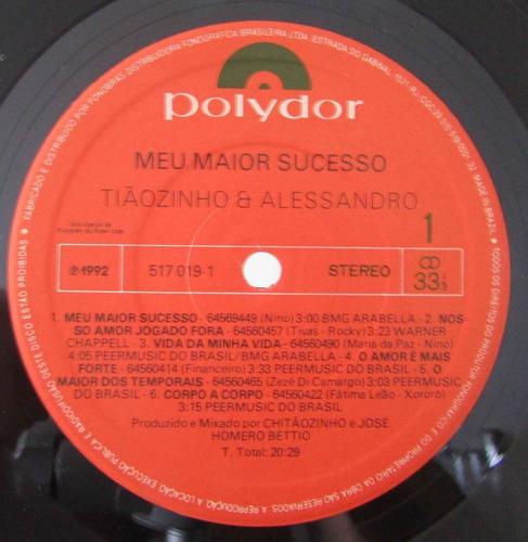 lp tiãozinho e alessandro - meu maior sucesso - 1992 - polyd