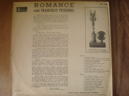 lp vinil francisco petrônio - romance