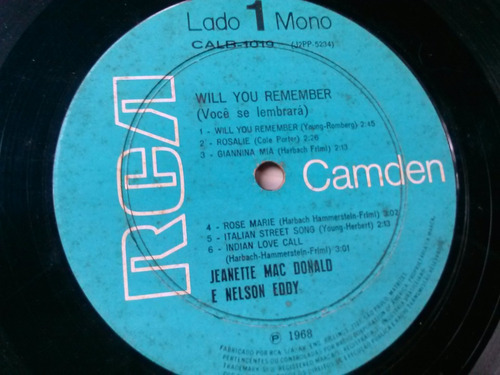 lp vinil - jeanettte macdonald and nelson eddy - will you re