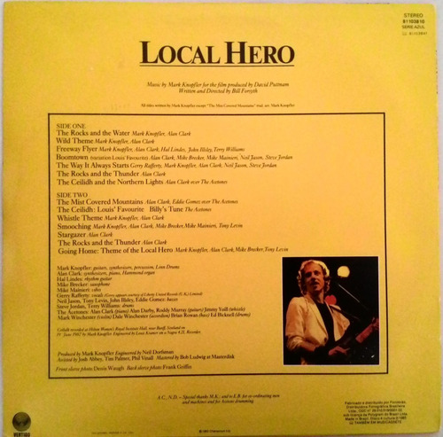 lp vinil mark knopfler - local hero - excelente estado