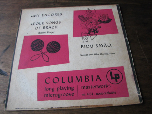 lp vinil may encores/folk songs of brazil / bidú sayão