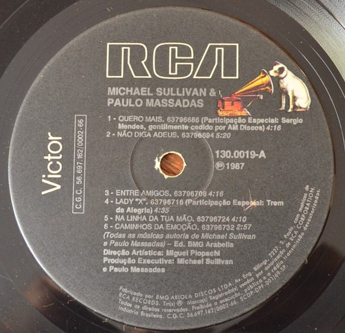 lp vinil - sullivan & massadas - 1987
