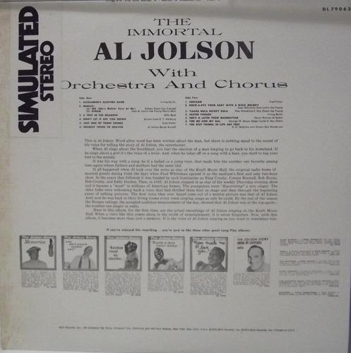 lp vinil - the immortal al jolson with orchestra and chorus