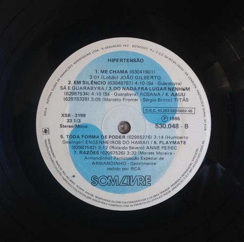 lp vinil trilha sonora da novela hipertensão - nacional.