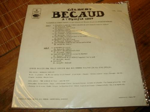 lp vinilo-12'' gilbert becaud a l'olympia 1967 odeon 1969