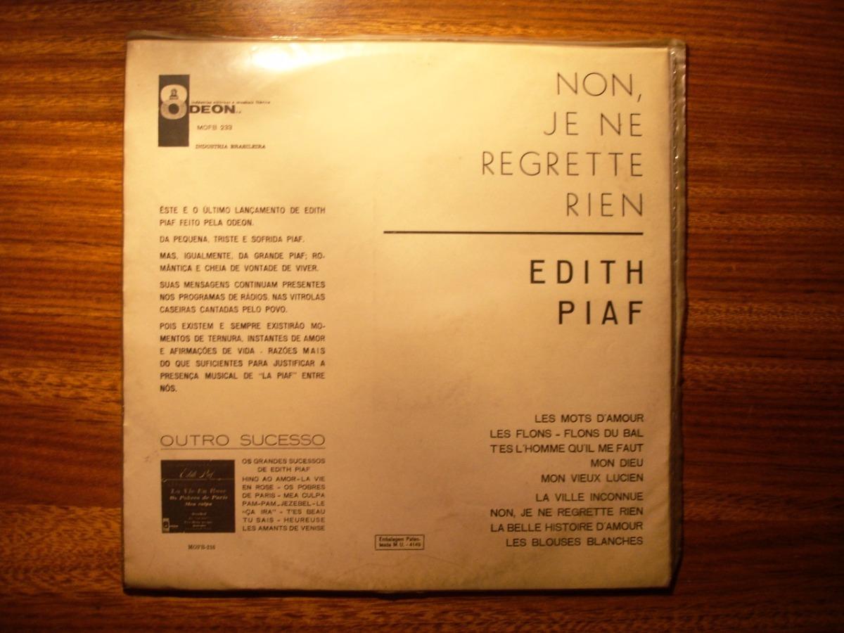 Lp Vinilo Edith Piaf Je Ne Regrette Rien Orig Importado 1965 133500
