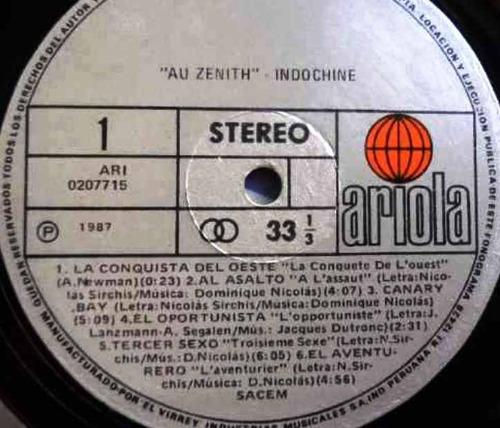 lp vinilo indochine au zenith edicion peru 1987