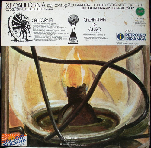 lp xii califórnia canção nativa do rs 1982 polyfar c/ encart