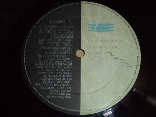 lp/disco mpb/var - cidade negra - lute para viver - 1990