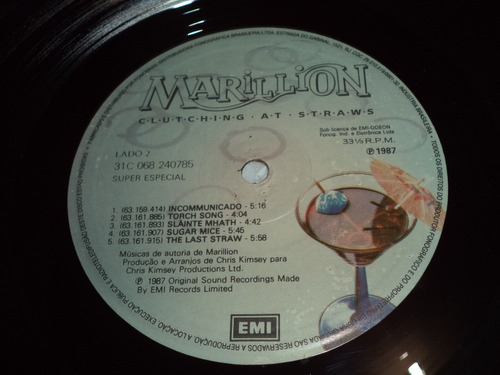 lp/disco rock -marillion clutching at straws - vinil c/ enc
