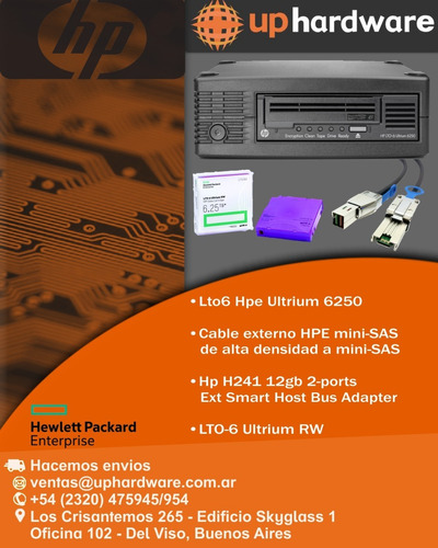 lto6 hpe ultrium 6250, cable mini-sas, controladora hp h241