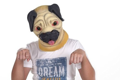 lubber halloween costume pug ltex animal dog head mask