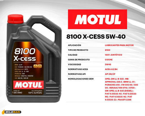 lubricante motul 5w40 sintetico 100% 8100 5 lts c/obsequio