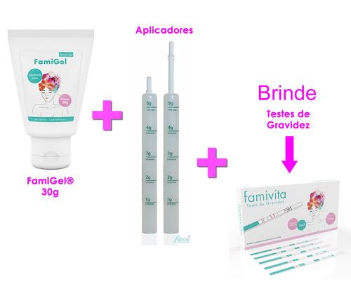 lubrificante para engravidar kit famigel 30g + 10 ap + 05 tg