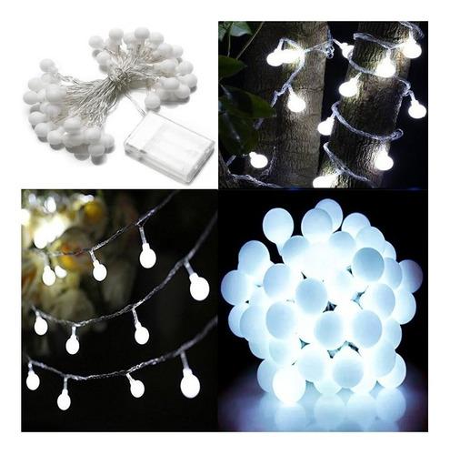 luces bolitas 20 led guirnalda blanca fria 3 metros a pilas