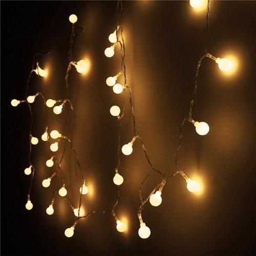 luces bolitas 28 led guirnalda calidas 5mt con enchufe a 220