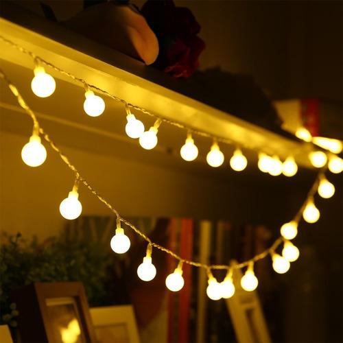 luces bolitas 28 led guirnalda calidas 5mt pilas