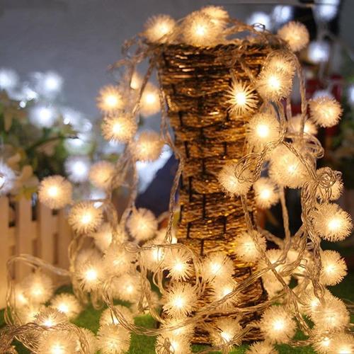 luces bolitas 28 led pompom guirnalda calidas 5mt pilas deco