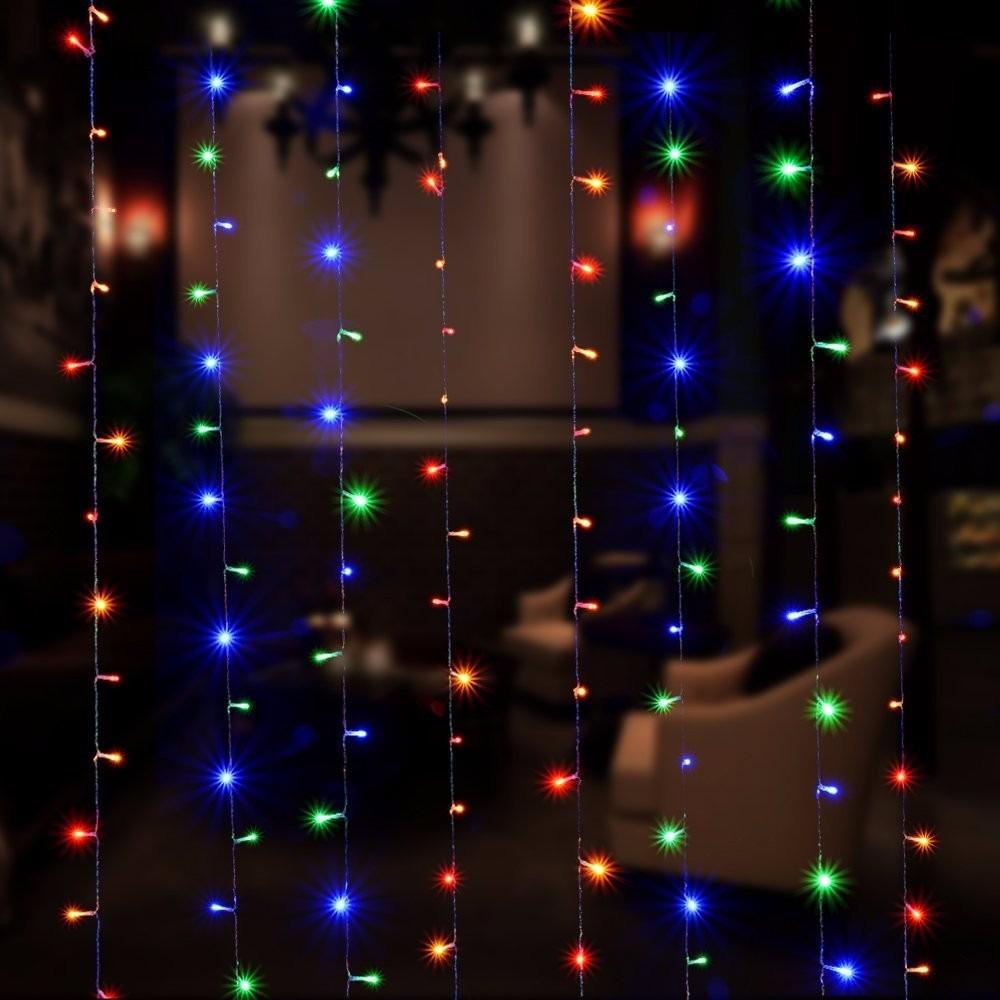 Luces contra agua tipo cortina 300 leds 3x3m multicolor for Cortina de luces led