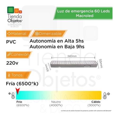 luces emergencia luz 60 8w fria led 8hs autonomia full
