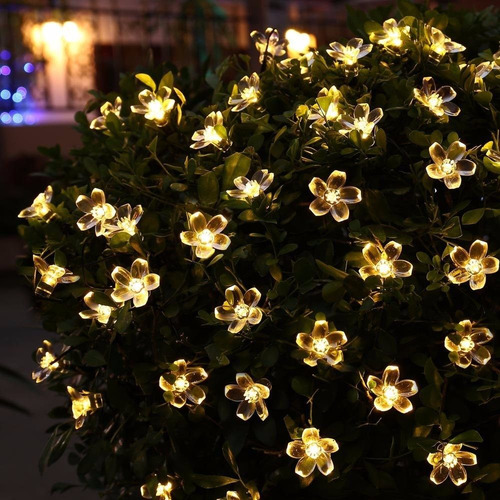 luces flores solares 21ft 50 led calido para decoracion
