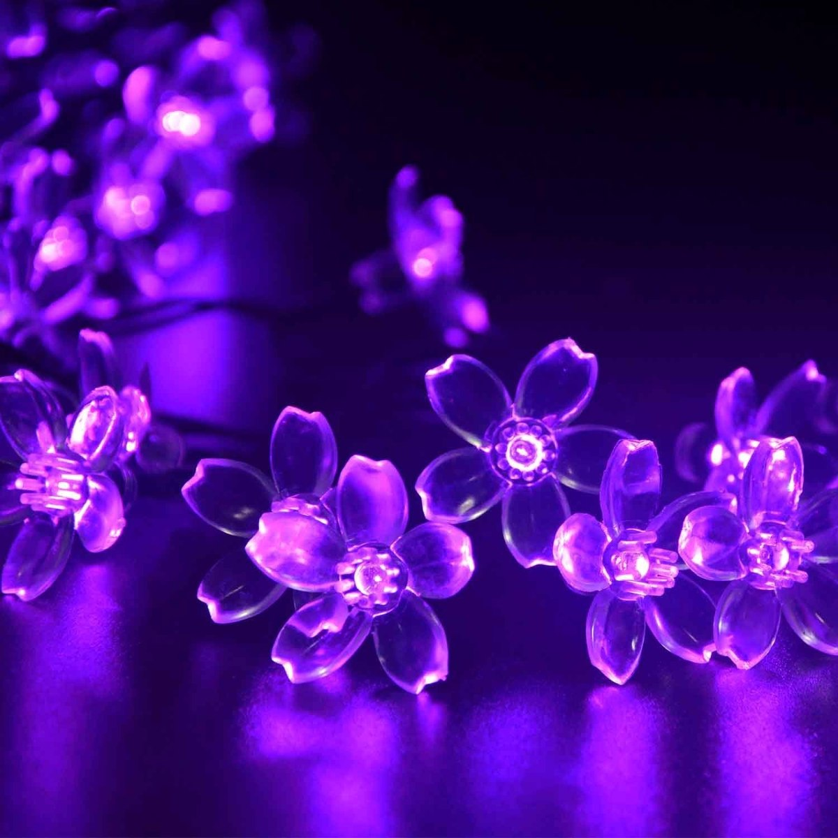 Luces Flores Solares 21ft 50 Led Morado Para Decoracion